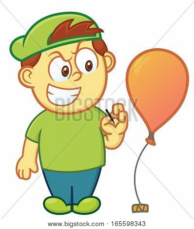 Boy Going to Pop Balloon Cartoon Illustration Isolated on White