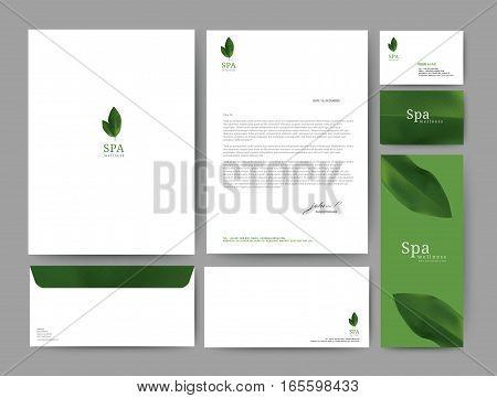 Branding identity template corporate company design Set for business hotel resort spa luxury premium logo of green leaf. vector illustration