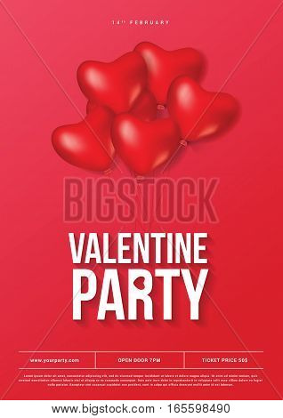 Happy Valentine Day Party Banner Card template. Heart Red Ballons. Elegant Vector illustration.