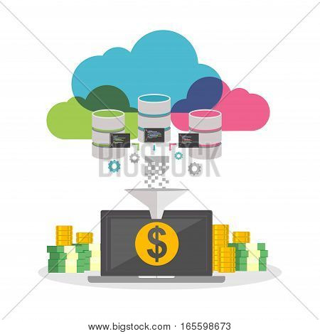 Online business. Financial technology. Automatic system. Earning money from internet concept.