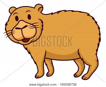Capybara Smiling Cartoon Animal Character Isolated on White Background