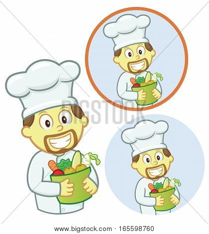 Chef with Bucket of Vegetables Cartoon Character