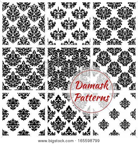 Damask patterns of floral ornate embellishment. Luxury flowery backdrops and flourish ornamental tiles. Baroque or rococo background design. Vector set of tracery motif adornment backdrops