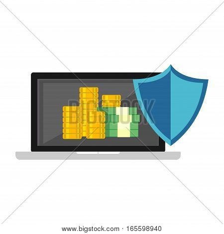 Secure digital money transaction. Secure payment symbol. Financial security.