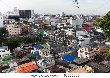 Top view of old town in Bangkok Thailand. 17.12.2016