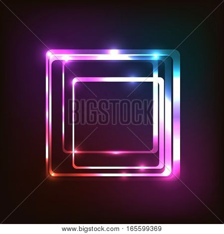 Abstract colorful glowing background with rounded rectangle, stock vector