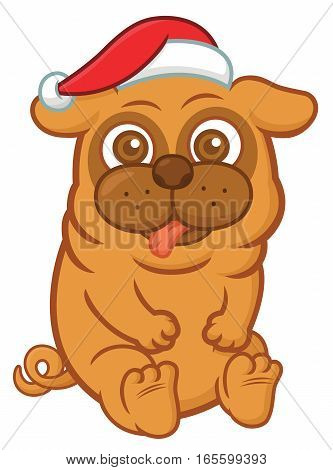 Christmas Pug with Santa Claus Hat Sitting Cartoon Illustration Isolated on White