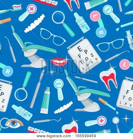 Dentistry, stomatology seamless pattern of vector dental health and care items and dentist tools orthodontic braces and tooth implant, mouth mirror, syringe and magnifying glass, stomatologist chair, tooth paste and brush