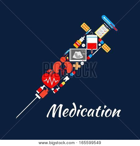 Medicine items and tools in shape of syringe. Vector poster of medication drugs and pills capsules, ultrasonography, blood dropper, tooth, human organs kidney and lungs, heart pulse, medical thermometer, spray and patch