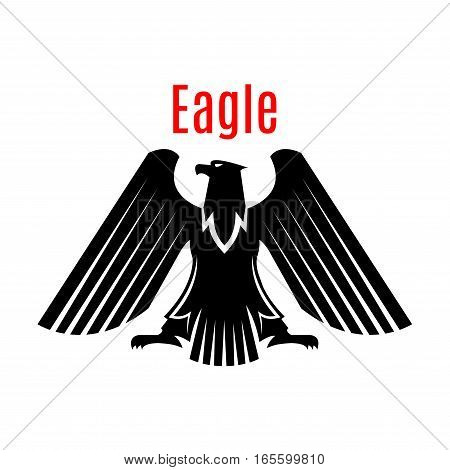 Black heraldic eagle emblem. Gothic design of falcon or hawk. Vector isolated icon of sign of phoenix with open spread wings and sharp clutches. Predatory bird symbol for army or military shield, sport team mascot, security badge