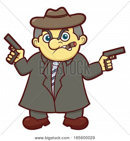 Gangster Boss with Double Guns Cartoon Illustration