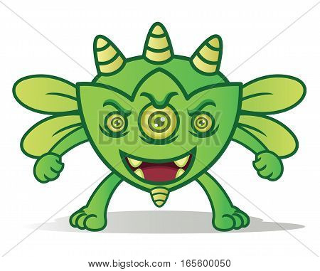 Green Bug Horned Monster Cartoon Character Isolated on White
