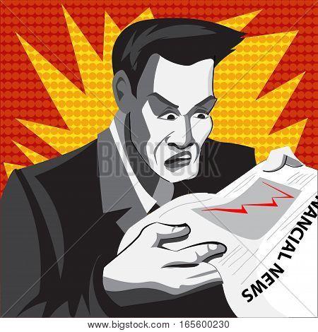 Cartoon businessman in panics. Comics style. Vector illustration