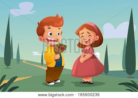A vector illustration of Boy Giving Flower to a Girl