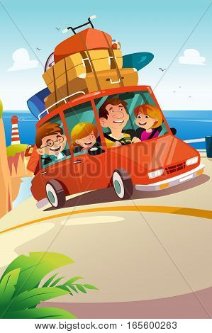 A vector illustration of Family Traveling on a Road Trip