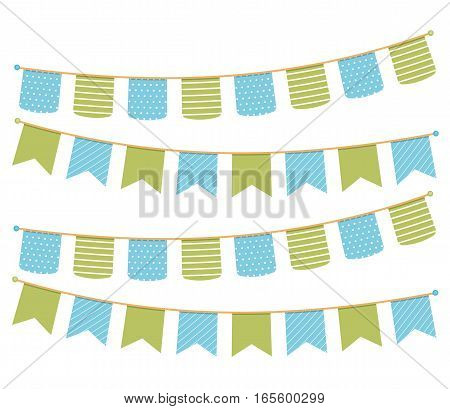 Different colorful bunting for decoration of invitations, greeting cards etc, bunting flags vector, eps10 illustration