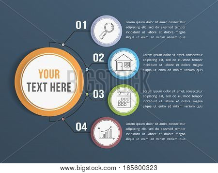 Infographic template with four steps or options, workflow process diagram, vector eps10 illustration
