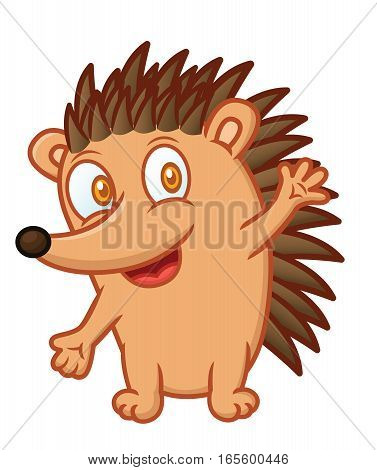 Funny Hedgehog Cartoon Animal Character Isolated on White