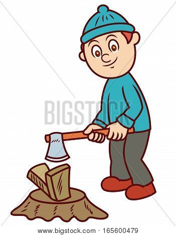 Man Chopping Wood with Axe Cartoon Illustration