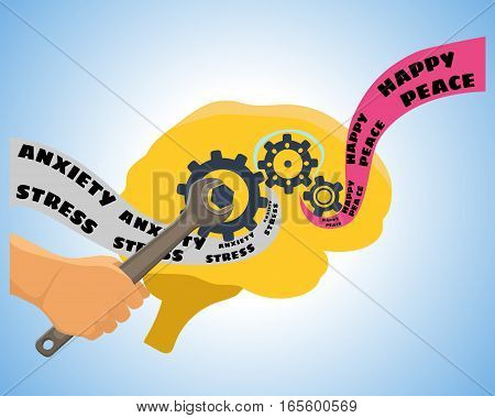 Brain training vector illustration. Mental psychology problem, health and psychiatrist, human mind, medical stress, depression and therapy illustration