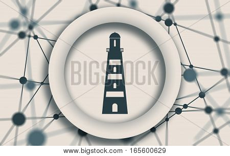 Sea travel and journey relative icon. Lighthouse emblem on abstract backdrop. Molecule And Communication Background. Connected lines with dots.
