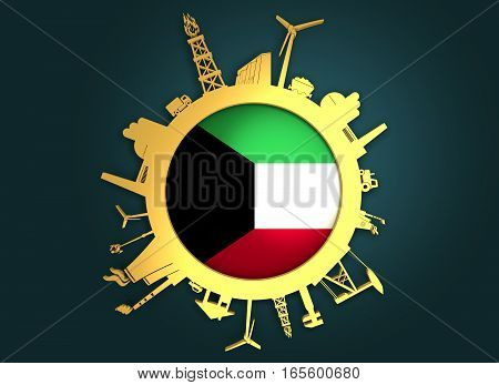 Circle with industry relative silhouettes. Objects located around the circle. Industrial design background. Kuwait flag in the center. Golden material. 3D rendering