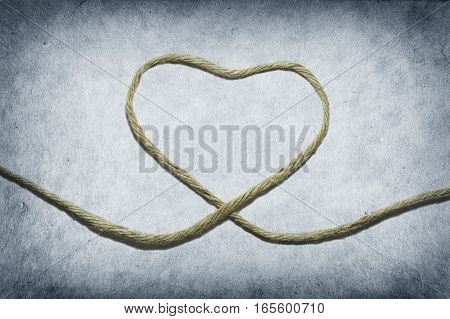 Jute rope in heart shape (Concept of Valentine)