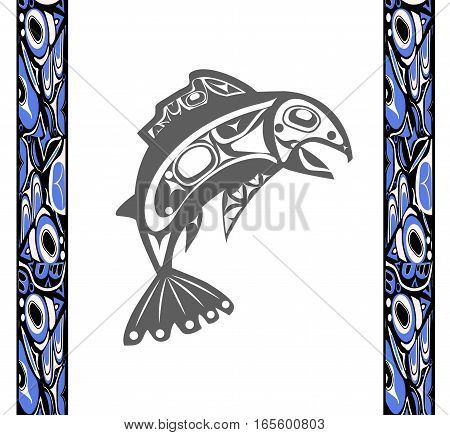Native fish Vector isolated on white background with native ornament