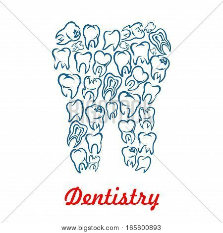 Stomatology and dentistry poster with tooth shape designed of human teeth. Vector symbol of healthy white tooth for dentist, stomatologist clinic, odontology health center or tooth paste design