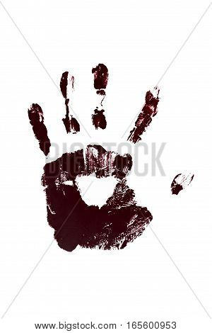 Bloody print of hand isolated on white background