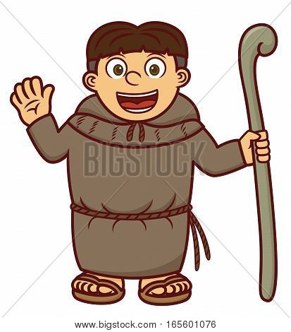 Monk with Wooden Staff Waving Hand Cartoon Illustration Isolated on White