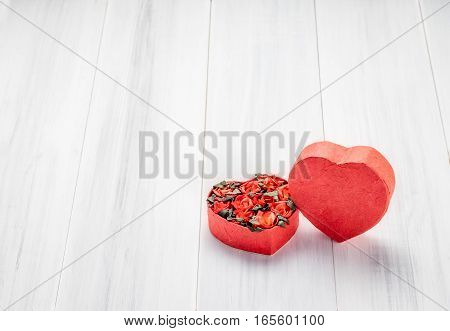 Heart Shape Box With Red Roses Inside On White Wood Table Top ,love Concept,valentine's Day Card,cop
