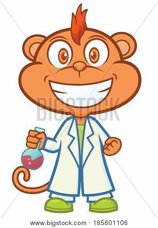 Monkey Professor with Test Tube Cartoon Character Isolated on White
