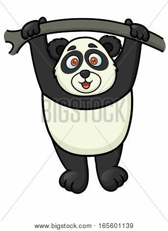 Panda Hanging on Tree Branch Cartoon Illustration