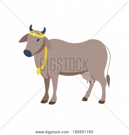 Cow farm indian animal character. Beef mammal agriculture milk face vector illustration. Cartoon flat farm agriculture beast standing bull symbol.