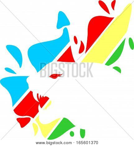 logo illustration animal cheetah with colorful background