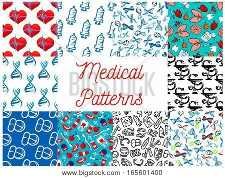Medical seamless vector patterns set of medicine tools and medications syringe, heart pulse and DNA helix, test flask or dropper, brain and lungs organs, tooth, drug pills, dentistry items of toothpaste and toothbrush, apple and doctor stethoscope