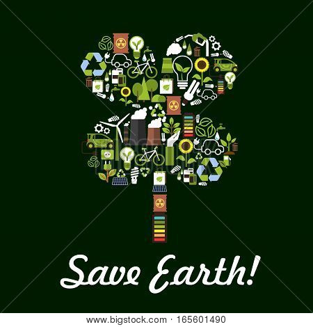 Save Earth symbol in clover leaf shape. Nature and ecology protection designed of planet conservation and pollution prevention and recycling items electric lamp, gasoline drop, water, car and bicycle, green energy sources, plant smog chimney