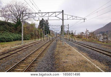 Railway Tracks In Kyoto, Japan