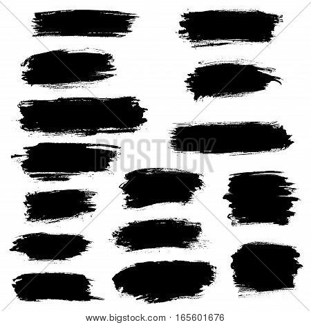 Vector black paint brush strokes, highlighter lines or felt-tip pen marker horizontal blobs. Marker pen or watercolor isolated lines or brushstrokes and dashes. Ink smudge abstract shape stains and smear traces set with grunge texture