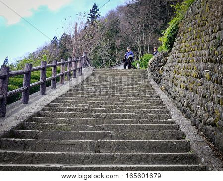 Concrete Stair At The Shinto Temple In Japan