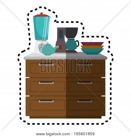 Kitchen chest of drawers with appliances vector illustration design