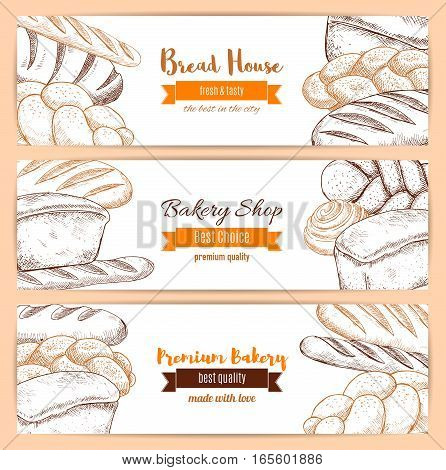 Bread banners of sketched bread assortment wheat bagel, rye loaf brick and french baguette, twist or braided bread, fresh and tasty bun and sweet roll dessert. Vector design with ribbons for premium quality bakery, baker shop and pastry