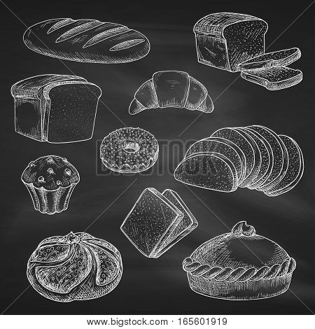 Bread icons. Chalk sketch on blackboard or chalkboard. Vector isolated wheat bread loaf brick or bagel, sliced rye bread toasts, crunch pie or cake, chocolate muffin with sweet croissant or cupcake dessert. Bakery shop, pastry or patisserie chalked design
