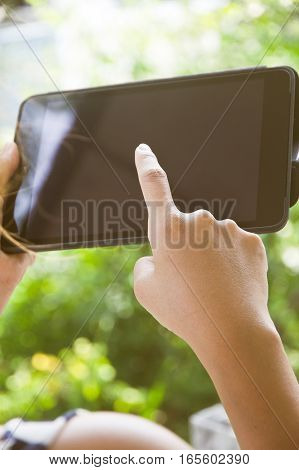 People using digital tablet, comunication technology concept