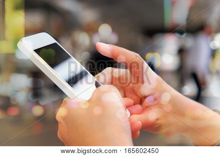 communication technology concept, close up image of people using smart phone