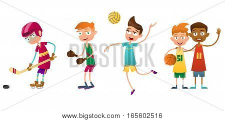 Flat set of kids doing different types of sports. The boy volleyball player boxer and hockey player. Two other boys basketball