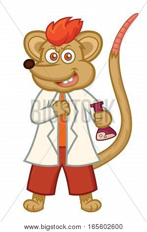 Rat Professor with Test Tube Cartoon Illustration Isolated on White