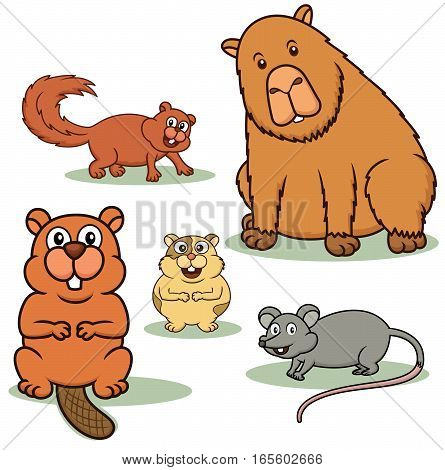 Rodent Animals Cartoon Set. Squirrel Beaver Hamster Mouse and Capybara Vector Illustration.