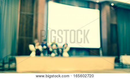 Blur Background, Seminar Event Room With Bokeh Light Background,business Concept
